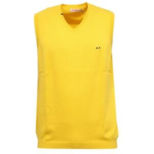 0707W man cotton SUN gilet sweater delave' uomo 68 yellow sleeveless OfqOv1
