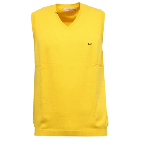 0707w Gilet Uomo Sun 68 Yellow Cotton Sleeveless Sweater Delave' Man Sentirse CóModo