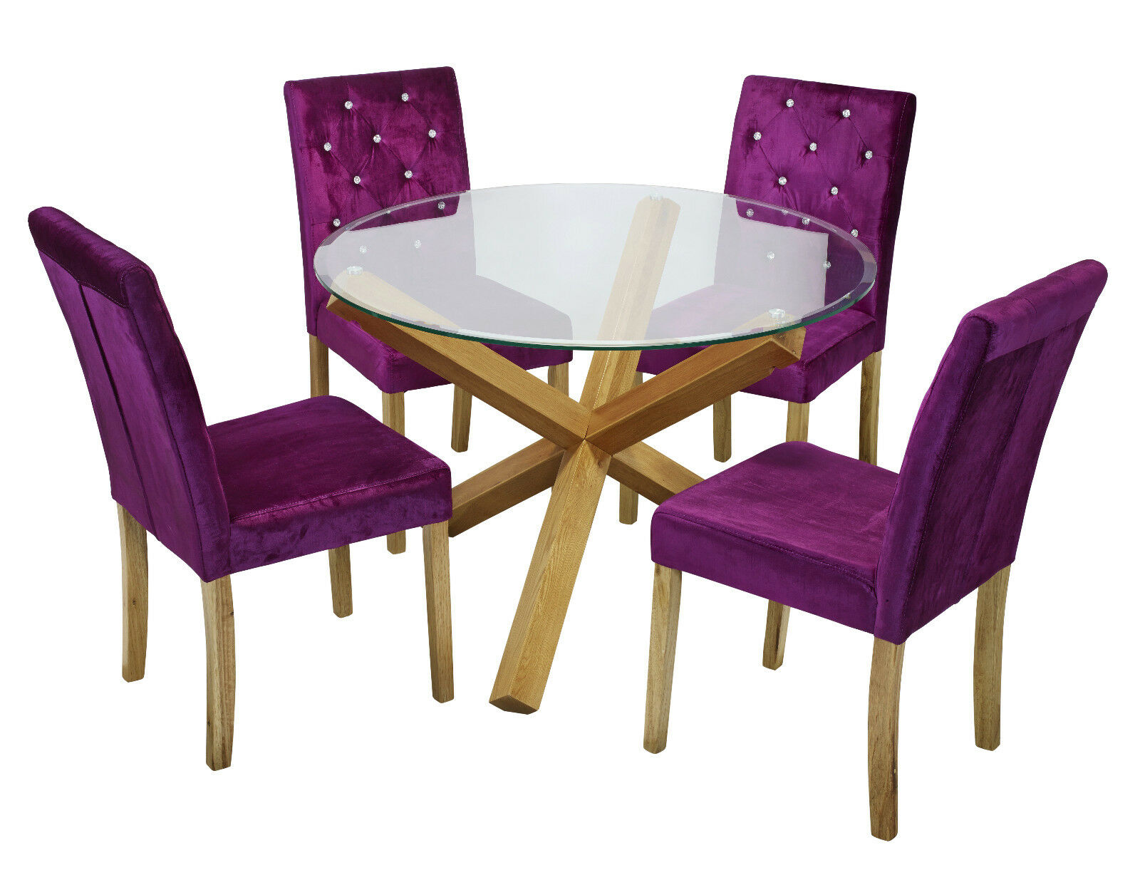 Details About Trend Solid Oak Round Gl Top Dining Table 4 Amour Purple Fabric Chair Set