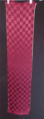 GroßZüGig Selten Quadratisches Muster 591ms Rot & Rosa Seide Satin & Krepp Fransen Schal