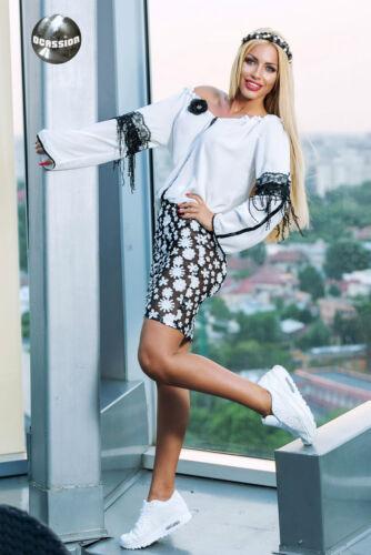 Ocassion Damenrock Minijupe Pencilrock jupe skirt rock blumenprint XS-M