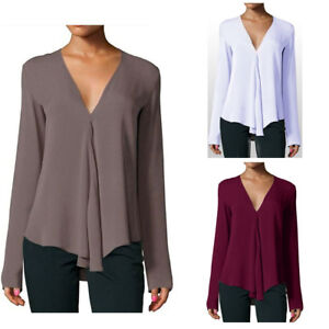 Women-Autumn-Pleated-Blouses-Casual-Loose-Office-V-Neck-Tops-Long-Sleeve-Shirts