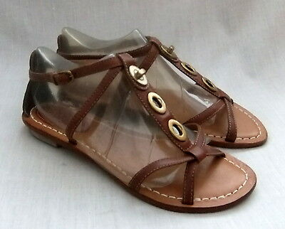 NEW CLARKS SURF MARK WOMENS TAN LEATHER SANDALS SIZE 6 39.5