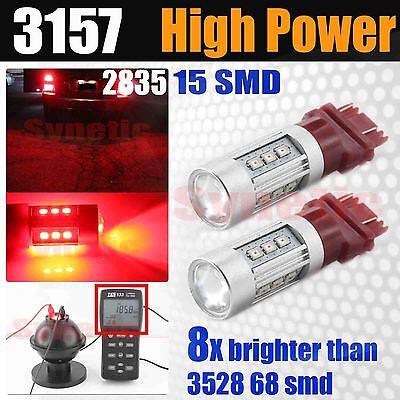 2x 3157 3156 4157 High Power 2835 SMD LED Red Turn Signal Parking Light Bulbs