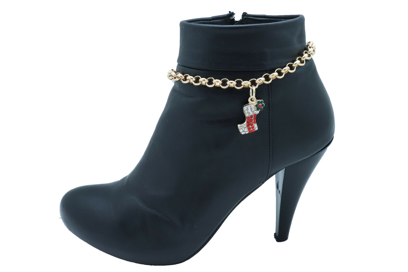 Women Gold Metal Chain Boot Bracelet Shoe Anklet Christmas Stocking Charm Gift