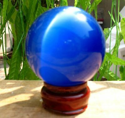 blue Quartz cat's eye Carving Sphere Ball 40MM+Stand  Free shipping