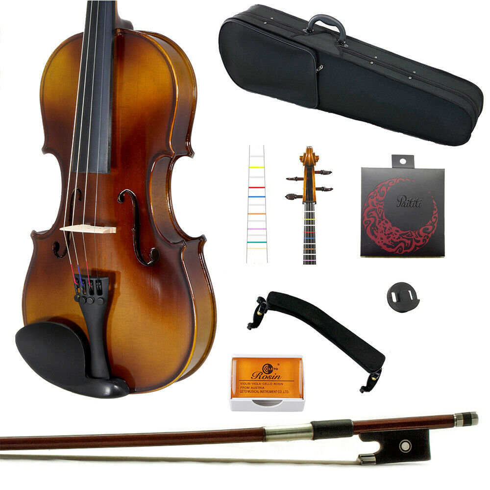 Paititi 4 4 storlek Solid Wood Student Violin w Case Bow Rosin String Fingerchart