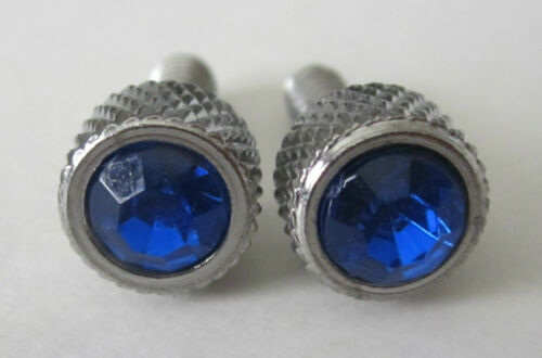 2 NEW Chrome Metal Small Dash Screw w// BLUE Jewel for 87-/'00 Peterbilt