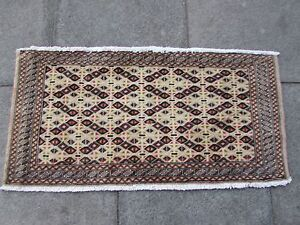 Old-Traditional-Hand-Made-Oriental-Turkoman-Rugs-Wool-Brown-Rug-55x115cm