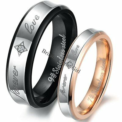 """Mens Womens Stainless Steel  """"Forever Love"""" Ring Anniversary Wedding Band"""