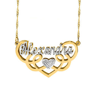 ed5ac33f7c3cd Details about Personalized Gold/Silver Fancy Double Name Necklace Double  Plated Name Necklace