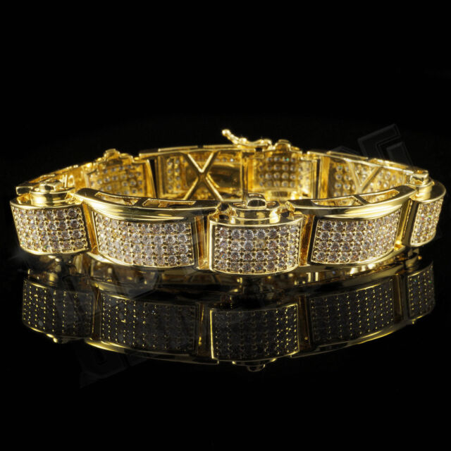 18K Gold Iced Out HipHop Bling MICROPAVE Prong Set AAA Lab Diamond Mens Bracelet