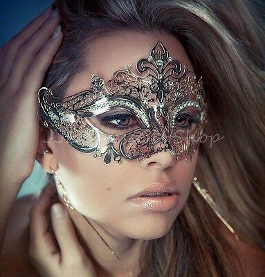 Luxury Sexy Silver Filigree Venetian MardiGras Masquerade Mask w/Rhinestones