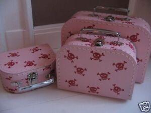 Pappkoffer enfants valise en carton * pirate rose taille s * jouet valise coffret  </span>