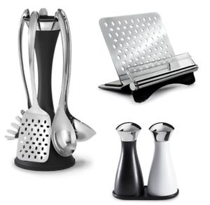 Robert Welch Kitchen Set 6pc Utensil Stand Set Salt /& Pepper /& Cookbook Stand