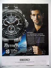 PUBLICITE-ADVERTISING :  SEIKO Astron GPS Solaire  2015 Novak Djokovic,Montres