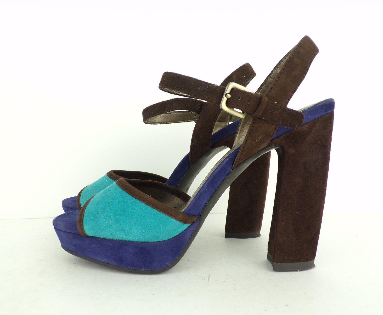 BANDOLINO Braun & Blau Suede Open Toe Strappy Heels Sandales Open Toe Schuhes 6 M