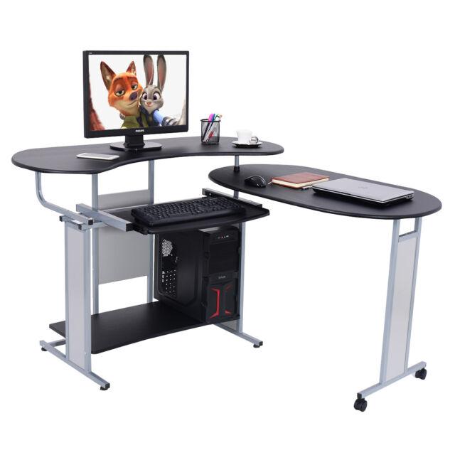 Expandable L Shaped Computer Desk PC Table Corner Workstation Home ...