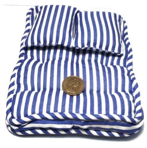 1:12 Maßstab Blau Gestreift Doppel Matratze /& Kissen Tumdee Puppenhaus Miniatur