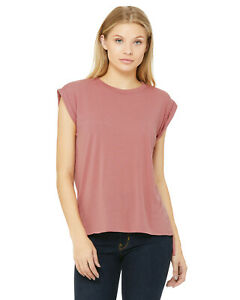 2f67270f Bella + Canvas Womens Flowy Muscle S-XL T-Shirt With Rolled Cuffs ...
