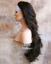 DARK BROWN 3/4 Wig Fall Hairpiece Long Wavy Half Wig Layered XL Hair Piece #4