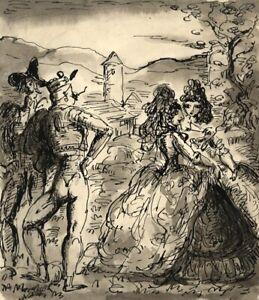 Harold Hope Read, Theatrical Scene (Don Quixote?) – 1920s pen & ink drawing