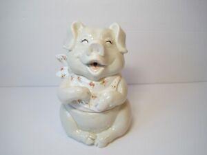Vintage-Rare-Fitz-amp-Floyd-Happy-Smiling-Pig-Sugar-Pot-Storage-Jar-Adorable