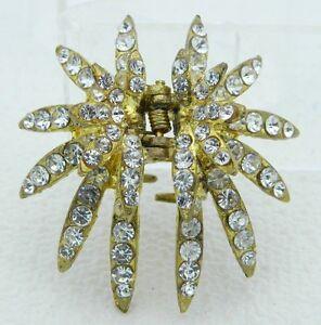 VTG-Gold-Tone-Clear-Rhinestone-Star-Hair-Clip