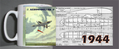 Aeromodeller Vintage Mug 1944 Design-mostra Il Titolo Originale Giada Bianca