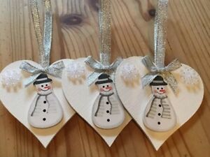 image is loading 3 x snowman christmas decorations handmade shabby chic