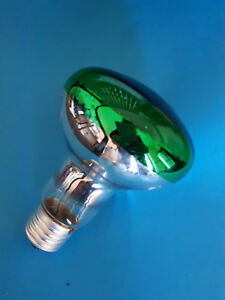 Lampada-incandescenza-con-riflettore-specchio-cromato-lampadina-verde-60W-E27