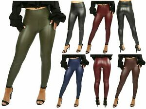 Womens Ladies Wet Look PU Faux Leather Leggings Skinny High Waist Trouser Pants