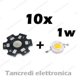10X-Chip-led-1W-bianco-freddo-350mA-3V-3-6V-dissipatore-alluminio-lampadina-bulb