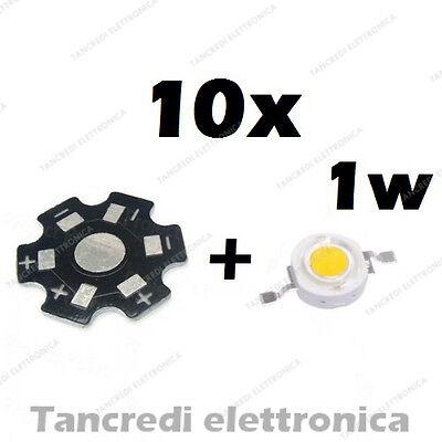 10X Chip led 1W bianco freddo 350mA 3V 3.6V alta luminosità lampadina lampada