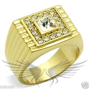 Men-039-s-Gold-Plated-Top-Graded-Square-Crystal-Ring-8-9-10-11-12-GL044