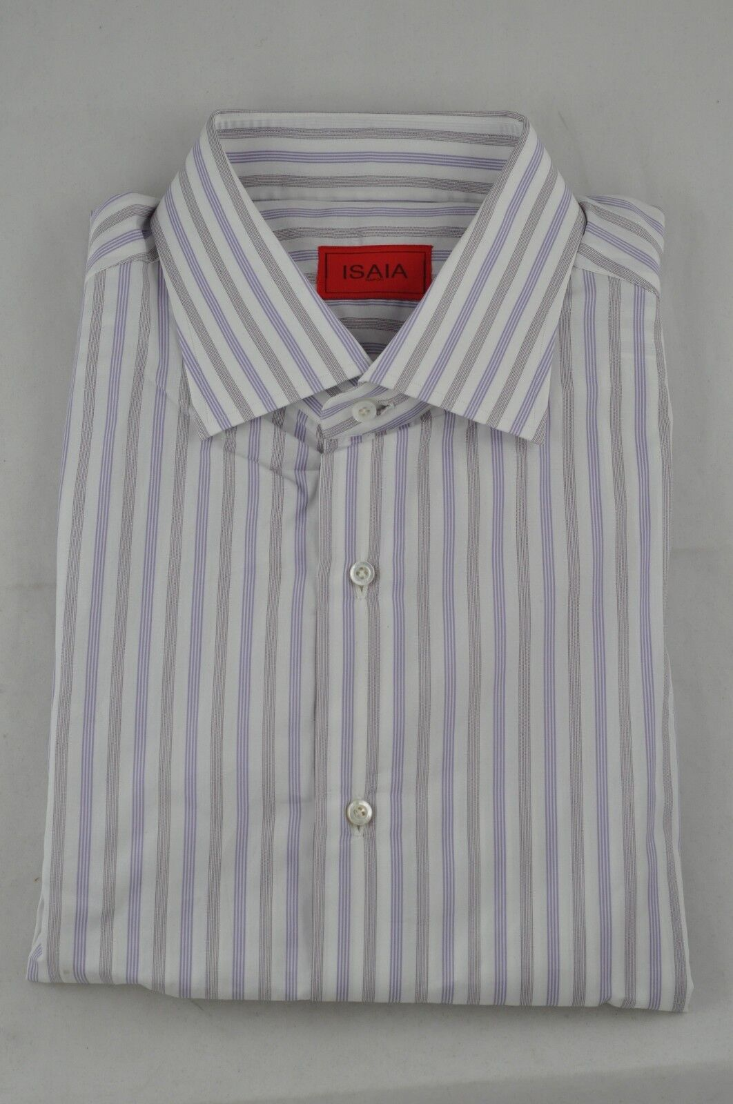 NWT ISAIA PURPLE AND WHITE STRIPED DRESS SHIRT SIZE 17