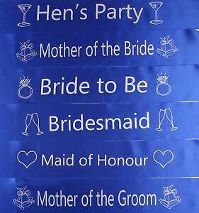 HENS NIGHT BRIDAL SASH SASHES BRIDE BRIDESMAID MAID OF HONOUR * BLUE & SILVER *