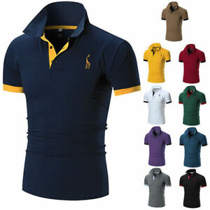 US-Mens-Slim-Fit-Shirts-Short-Sleeve-Casual-Golf-Tee-T-Shirt-Jersey-Tops-Summer