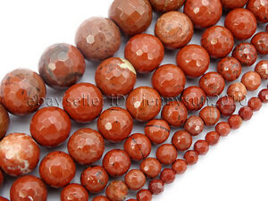 Natural-Red-Jasper-Gemstone-Faceted-Round-Spacer-Beads-15-039-039-6mm-8mm-10mm-12mm