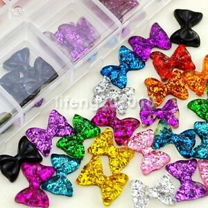 60pcs 3d acrylic nail glitter bow tie for nail art uv gel for Acrylic nail decoration supplies
