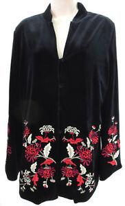 Nira-Kaplan-Black-Velvet-Jacket-S-Stretch-Oriental-Embroidered-Floral-LS-Button