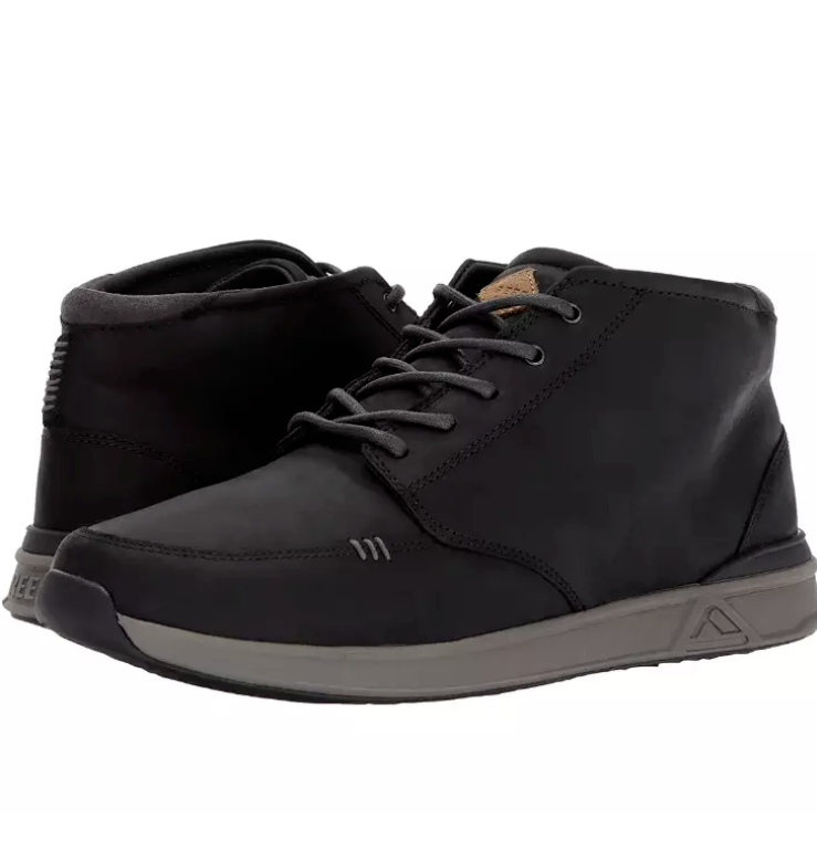 New Reef Rover Mid Black Leather Chukka Boots shoes RFOA2XMT Men's Sizes