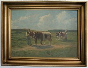 Cows-on-the-Away-to-Meadow-1-half-20-Jh-Signed-Axel-Hansen-Oil-on-Le