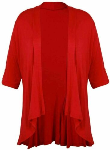 Womens Plain Waterfall Cardigan Top Ladies Turn Up 3//4 Sleeve Front Open Top