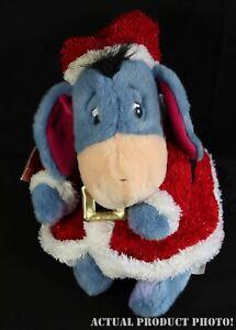 Disney-Store-12-034-Christmas-Holiday-Eeyore-Santa-Helper-Stuffed-Plush-Toy