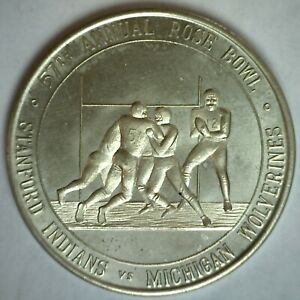 1972 57th Annual Rose Bowl Parade Stanford Indians vs Michigan Wolverines Token