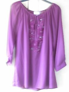 KALIKO-Plum-coloured-Embellished-TUNIC-TOP-matching-CAMISOLE-set-Size-14-NEW