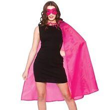 Adult Mens Ladies Unisex Superhero Fancy Dress Kit Cape & Mask Pink Cloak New w