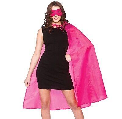 Adulto Uomo Donna Unisex Costume Supereroe Kit Mantella & Maschera Rosa Nuovo W Prendiamo I Clienti Come Nostri Dei