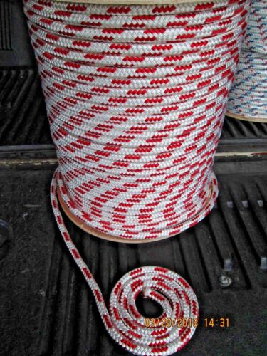 "Jib sheets Anchor line double braid 1//2/"" X 100/' Sail,Halyard Line White//4red"